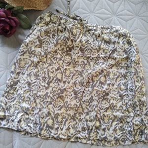 Eddie Bauer Leopard Rayon Drawstring Skirt Preppy
